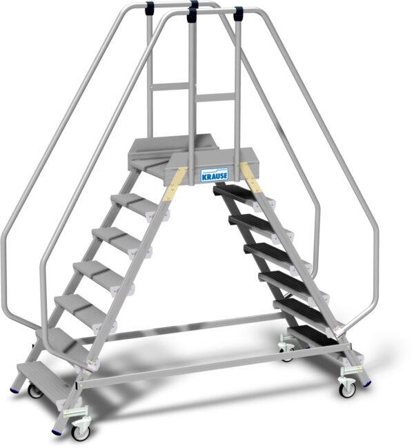 Pokretni obostrani aluminijski podest sa povišenim rubom na platformi i visokom ogradom